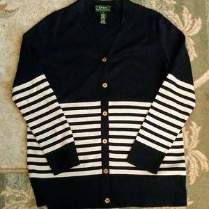 Ralph Lauren Silk Cardigan Size L Navy Cream